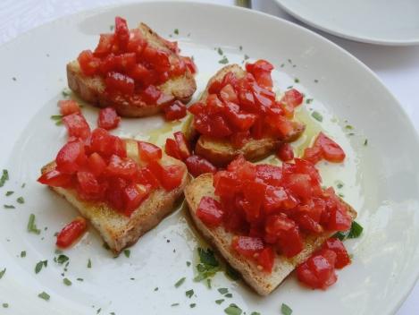 Fresh tomato bruschetta in Voltera, Italy