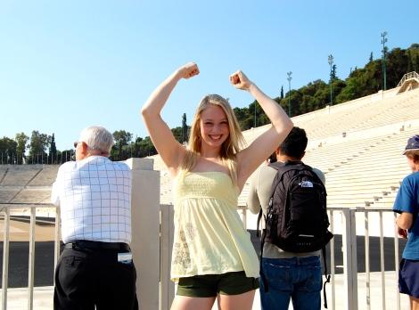 At the Panathenaic Stadium in Athens, Greece.
