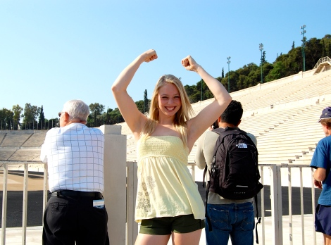 At the Panathenaic Stadium in Athens, Greece.