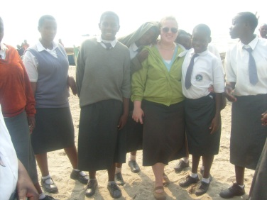 Rachael with some of the high school students in the class she taught.