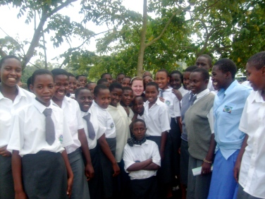 Rachael with the girls in the school where she taught.
