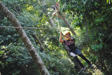 Taylor on a zip line adventure.