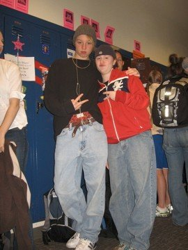"Mary (right) and I dressed up for ""Boy Band Day"" during spirit week in high school."