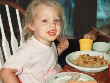 Little me was a messy eater. Big me is, too.