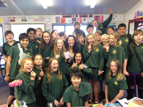 Amy with her class in New Zealand in 2012.