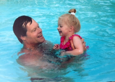 Dad and little T in the pool. Typical.