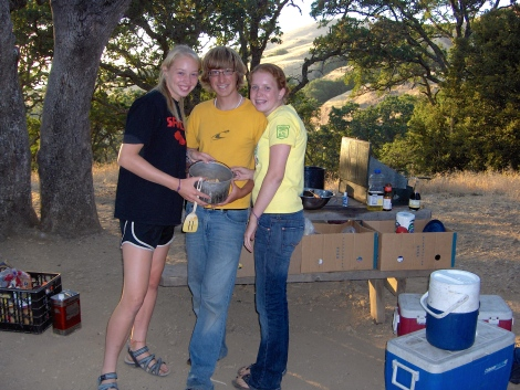 Gourmet cooking team at camp.
